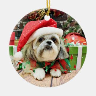 Christmas - Shih Tzu - Gizmo Round Ceramic Decoration