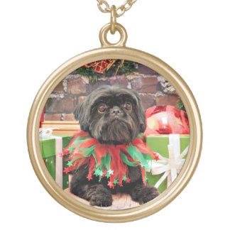 Christmas - Shih Tzu - Lily Gold Plated Necklace