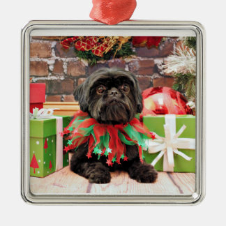 Christmas - Shih Tzu - Lily Silver-Colored Square Decoration