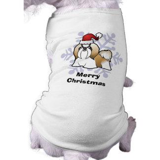 Christmas Shih Tzu (show cut) Sleeveless Dog Shirt
