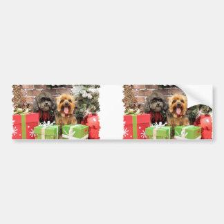 Christmas - Shih Tzu X Maggie - Yorkie Pixie Car Bumper Sticker
