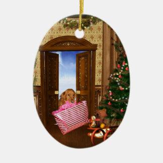 Christmas shopping dog christmas ornament