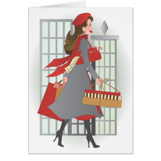 Christmas Shopping in the City Greeting Cards