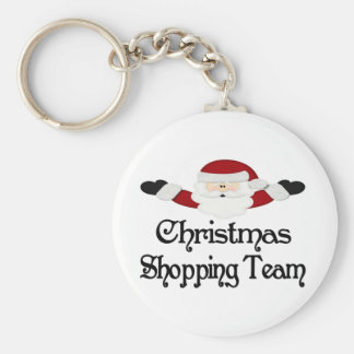 Christmas Shopping Team Basic Round Button Key Ring