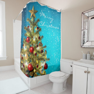 Christmas Shower Curtain/Christmas Tree Shower Curtain