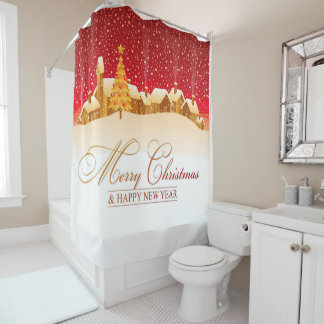 Christmas Shower Curtain/Christmas Village Shower Curtain