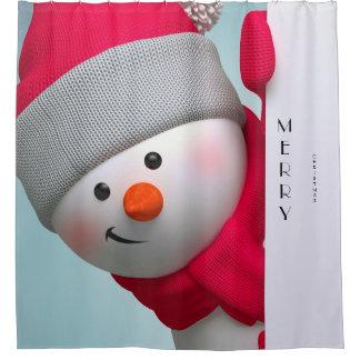 Christmas Shower Curtain/Merry Christmas Snowman Shower Curtain
