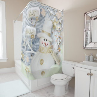 Christmas Shower Curtain/Snowman Shower Curtain