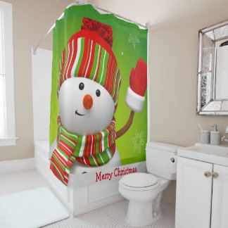 Christmas Shower Curtain/Snowman Shower Curtain