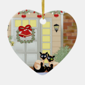 Christmas Siames Cats Christmas Ornament