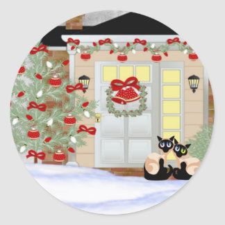 Christmas Siamese Pals Round Sticker