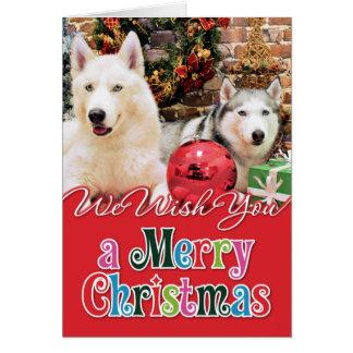 Christmas - Siberian Huskies - Bailey and Katya Greeting Card