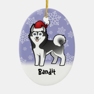 Christmas Siberian Husky / Alaskan Malamute Ceramic Oval Decoration