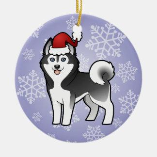 Christmas Siberian Husky / Alaskan Malamute Round Ceramic Decoration