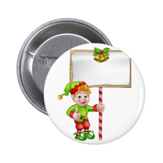 Christmas Sign Santa Helper Elf 6 Cm Round Badge