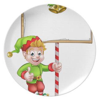 Christmas Sign Santa Helper Elf Plate