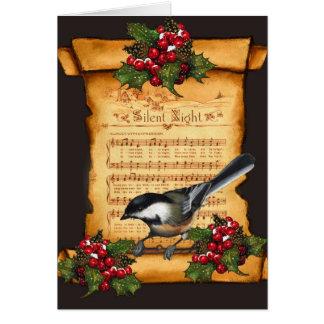 Christmas: Silent Night Sheet Music, Scroll, Bird Greeting Card