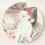 Christmas Silken Windhound Puppy Coasters