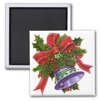 Christmas Silver Bell Square Magnet