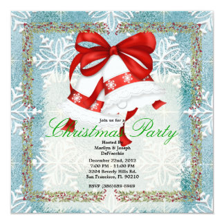 "Christmas Silver Bells CUTE Christmas Party Holida 5.25"" Square Invitation Card"
