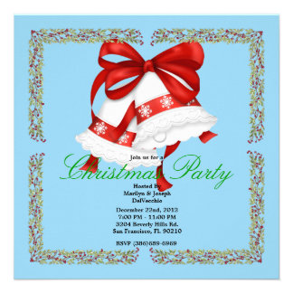 Christmas Silver Bells CUTE Christmas Party Holida Personalized Invitation