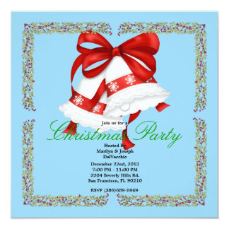 Christmas Silver Bells CUTE Christmas Party Holida 13 Cm X 13 Cm Square Invitation Card