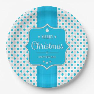 Christmas Silver-Blue Polka Dots Paper Plates