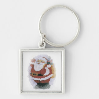 Christmas Silver-Colored Square Key Ring