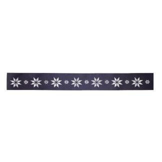 Christmas Silver Star Ribbon Blue Navy Satin Ribbon