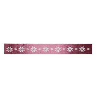 Christmas Silver Star Ribbon Burgunde Satin Ribbon