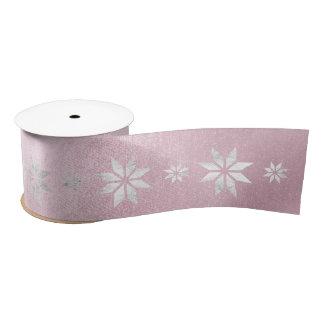 Christmas Silver Star Ribbon Pink Pastel Satin Ribbon