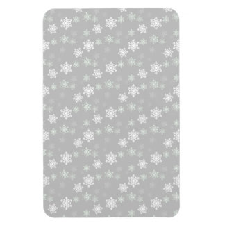 Christmas Silvery White Snow Flurries Rectangle Magnets