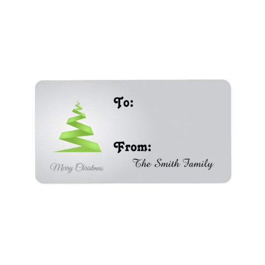 Christmas Simple Ribbon Christmas Tree Label