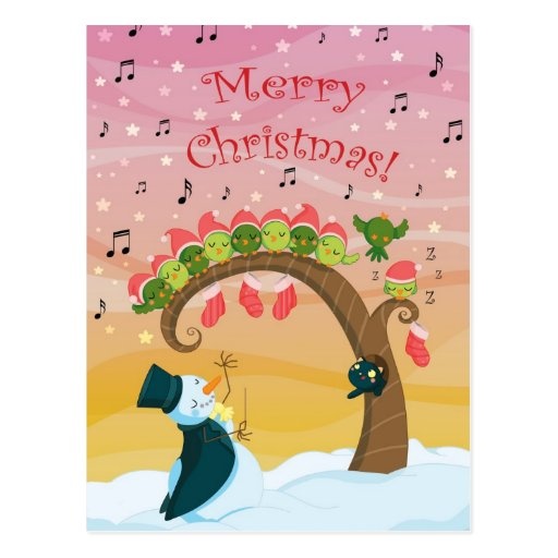 Christmas singing birds postcard