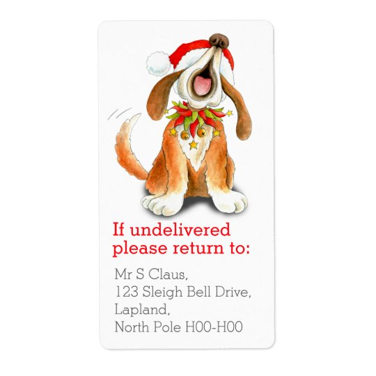 Christmas singing dog return address labels
