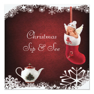 Christmas Sip & See Baby & Teapot Baby Shower Card