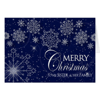 CHRISTMAS - SISTER AND HER FAMILY - NAVY/SNOWFLAKE CARDS
