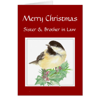 Christmas Sister, Brother in Law, Chickadee Bird Card