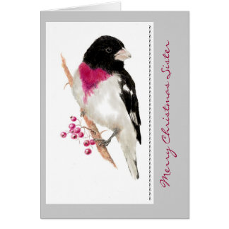 Christmas Sister Grosbeak Bird Card