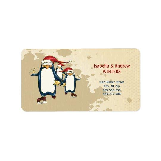 Christmas Skating Penguins Address Label