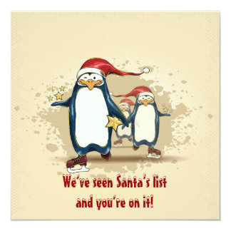 Christmas Skating Penguins Christmas Party 13 Cm X 13 Cm Square Invitation Card