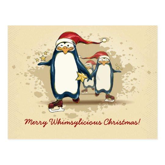 Christmas Skating Penguins Postcard