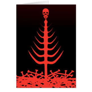 Christmas Skeleton Tree Red Card