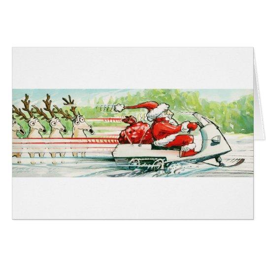 Christmas Skiing Santa Snowmobile Ski Card