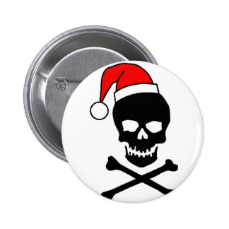 Christmas Skull And Crossbones 6 Cm Round Badge