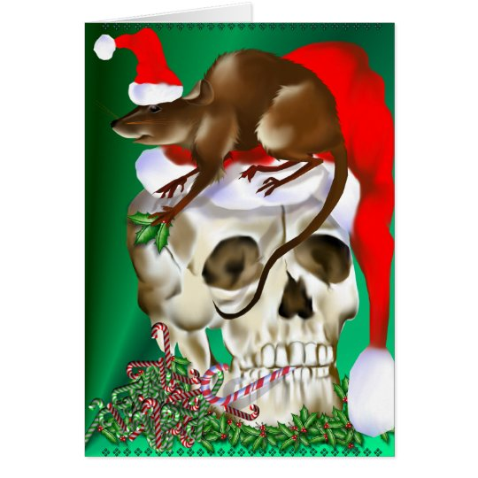 Christmas Skull and Happy Rat Card