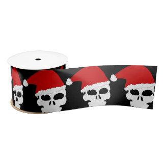Christmas Skull with Santa Hat Goth Satin Ribbon