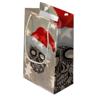 Christmas skull with star bokeh small gift bag