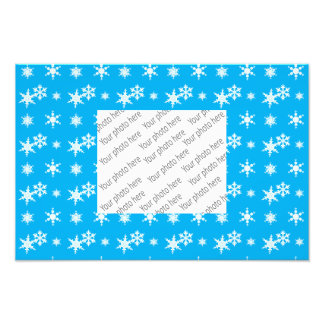Christmas sky blue snowflakes pattern photo print