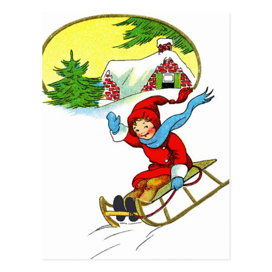 Christmas Sledding Postcard